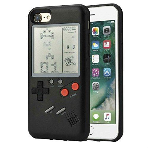 ゲームボーイ 風 iPhone ケース 実際に遊べるレトロゲームを多数内蔵 テトリス バトルシティー シューティング フロッガー インベーダー ビデオゲーム 液晶 ドットゲーム レトロ スマホケース スマートフォン(iphone8plus/7plus, ブラック)