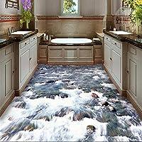 Wuyyii 床塗装カスタム家の装飾リビングルームの写真クリアストリーム水石浴室バスルーム3D床塗装-280X200Cm