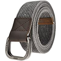 Ayliss Men's Double D-Ring Canvas Belt Genuine Leather Trimming Casual Belt