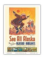 アラスカを見る - アラスカ航空 - コッツェーヴェエスキモーのダンス - ビンテージな航空会社のポスター によって作成された ジェス C. c.1960s - アートポスター - 23cm x 31cm