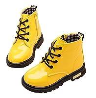 Plus Nao(プラスナオ) ブーツ 子供用ブーツ キッズブーツ ジュニアブーツ ショートブーツ レインブーツ 防水 編み上げ レースアップブーツ イエロー 22【13.5cm】
