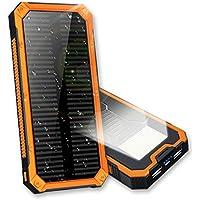 ソーラーチャージャー 16000mAh 軽量 IPX5級防水 急速充電 ソーラーモバイルバッテリー 携帯型 高輝度6LEDライト照明 SOS救急信号灯搭載 太陽光充電器 モバイルバッテリー 2USB出力ポート(1A+2A) 耐衝撃性 滑り止め 長使用寿命 全方位自動安全保護 ROSH認証 スマトフォーン/アウトドア/旅行/ 出張 /キャンプ/ 地震 /災害時にも必携 iPhone/ Android/iPad/PSP/Galaxy/スマホ/タブレット/ゲーム等対応 (オレンジ)
