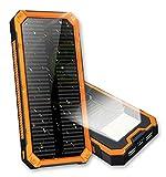 モバイルバッテリー 大容量 ソーラーチャージャー 16000mAh 急速充電 ソーラーモバイルバッテリー 防水 軽量 6LEDライト照明2USB出力ポート(1A+2A) ケーブル充電も太陽充電も適用 耐衝撃性 滑り止め ROSH認証 スマトフォーン/アウトドア/旅行/ 出張 /キャンプ/ 地震 /災害時にも必携 iPhone/ Android/iPad/PSP/Galaxy/スマホ/タブレット/ゲーム等対応 (オレンジ)