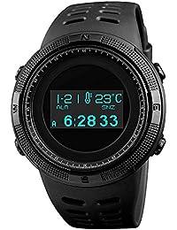 Timever(タイムエバー)メンズ デジタル腕時計 多機能スポーツウォッチ ストップウォッチ アラーム ダブルタイム カウントダウン 歩数計 コンパス カロリー計算 温度計 OLEDスクリーン 5ATM生活防水 日本語説明書付き