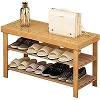 靴のラック玄関の後ろにソリッドウッドシンプルな多層靴のキャビネットシンプルな寮ベッドルームの靴のベンチシェルフストレージラック (色 : A, サイズ さいず : 90cm)