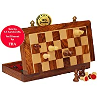 Today's Deal - AB handicrafts 10X10 Inch Chess Set with Red Color - Folding Wooden Chess Set with Felted Game Board