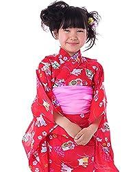 (キョウエツ) KYOETSU ガールズ浴衣3点セット gp 紅梅織り うさぎ 金魚 桜 蝶 100-130cm (浴衣 兵児帯 下駄)
