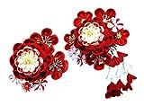 髪飾り つまみ細工 kk-007 かんざし 2点セット 花 和柄 (成人式 卒業式 結婚式 和装)コーム型  赤