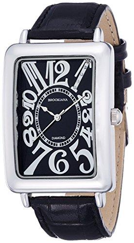 [ブルッキアーナ]BROOKIANA 腕時計 クオーツ 天然ダイヤモンド レクタンギュラーケース アラビアインデックス ブラック×ブラックレザー BA5101-SVBKBK メンズ 腕時計