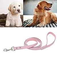 Flameer 犬 ペット用 リーシュ リード 牽引 ロープ 柔らかい レザー 素材 快適 実用的 頑丈 全4色 - ピンク