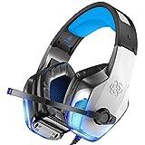 ゲーミングヘッドセット PS4 ゲーム用ヘッドホン 高音質 有線3.5mm 5.1ch 低音強化 騒音抑制 マイク付 ボリューム調節/マイク消音可能 LEDライト付 PC/switch/Xbox One/タブレット/スマホなどに対応 進化版