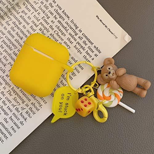 Little merry AirPods カバー Apple AirPod用 ダッフィー 風 キーホルダー付き 保護ケース 防塵 耐衝撃 airpods ケース キズ防止 滑り止め エアーポッズ ケース (ダッフィー)