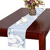 GGSXD テーブルランナー 親しい ブルーうさぎ クロス 食卓カバー 麻綿製 欧米 おしゃれ 16 Inch X 72 Inch (40cm X 182cm) キッチン ダイニング ホーム デコレーション モダン リビング 洗える