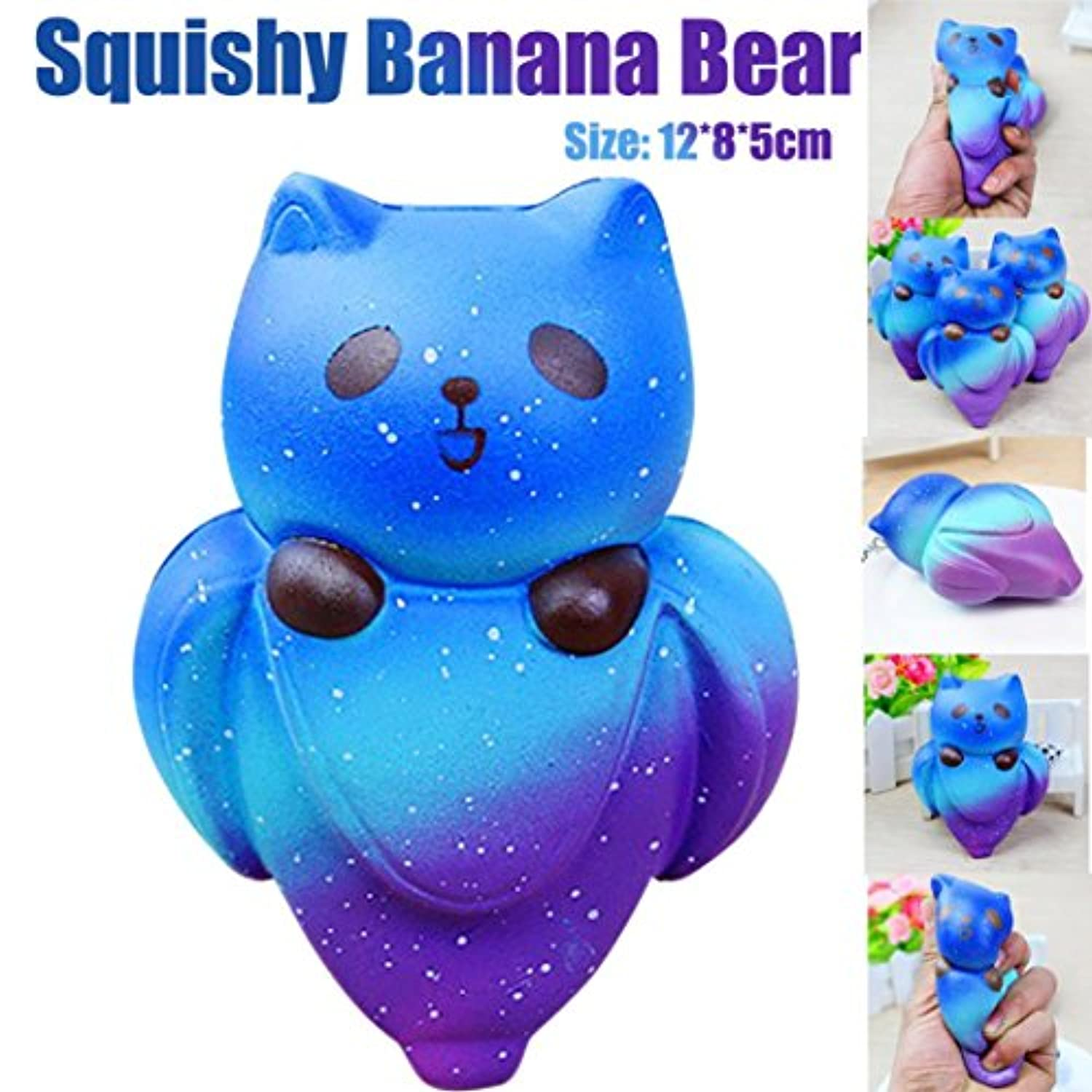 Rosiest低価格KawaiiカットStarryキュート12 cmバナナベアクリーム香りつきSquishy Slow Rising Squeeze Kids Toy SquishボールAnxiety Relief Squish Slow Rising