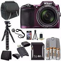Nikon COOLPIX L840 デジタルカメラ (パープル) - 国際バージョン (保証なし) + 単3電池4本パック ニッケル水素充電池 充電器 + 16GB SDHCカード + ケース + ミニフレキシブル三脚セーバーバンドル