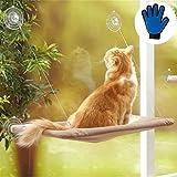 ハンモック 猫 ベッド 窓際マット 猫グッズ 日向ぼっこ 日光浴 夏冬両用 猫用品 通気 取り付け簡単 繰り返し洗濯 折り畳み 耐荷重15KG(コーヒーの色) 無料のペットブラシ手袋