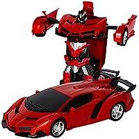 変形玩具車 車のおもちゃ リモートコントロールカー ロボット 遠隔操作 子供の好きなギフト (レッド) [並行輸入品]