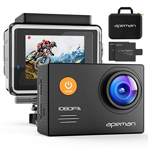 APEMAN アクションカメラ WIFI 1080p 1400万画素 フルHD アクションカム スポーツカメラ ウェアラブルカメラ 防水 防塵 手振れ補正 HDMI出力 ハイスペックカメラ 予備バッテリー×2 カメラケース&アクセサリー多数 高画質 30fps 170度広角
