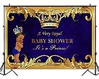 mehofoto Royal Princeプリンセスベビーシャワーバックドロップゴールドクラウン写真背景ロイヤルブルーの背景幕のベビーシャワーパーティー