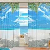 ユキオ(UKIO)紗のカーテン レースカーテン 人気 可愛い お洒落 スタイルカーテン ブルー 海 綺麗なビーチ 幅140丈210 2枚セット スタイルカーテン