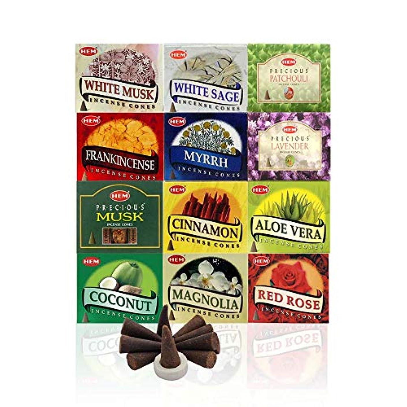 失効欠伸圧縮された12 Assorted Boxes of HEM Incense Cones, Best Sellers Set 12 X 10 (120 total)