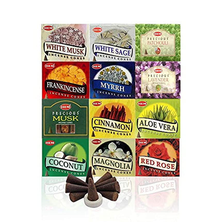12 Assorted Boxes of HEM Incense Cones, Best Sellers Set 12 X 10 (120 total)