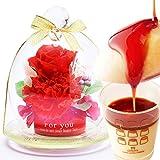 母の日ギフト ミニガラスドームプリザ&プリンセット プリザーブドフラワー 花とスイーツ (赤色)