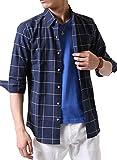 (アーケード) ARCADE メンズ 綿麻リネン ストレッチ オックス 七分袖シャツ 綿麻シャツ カジュアルシャツ XL ネイビーウインドウペン