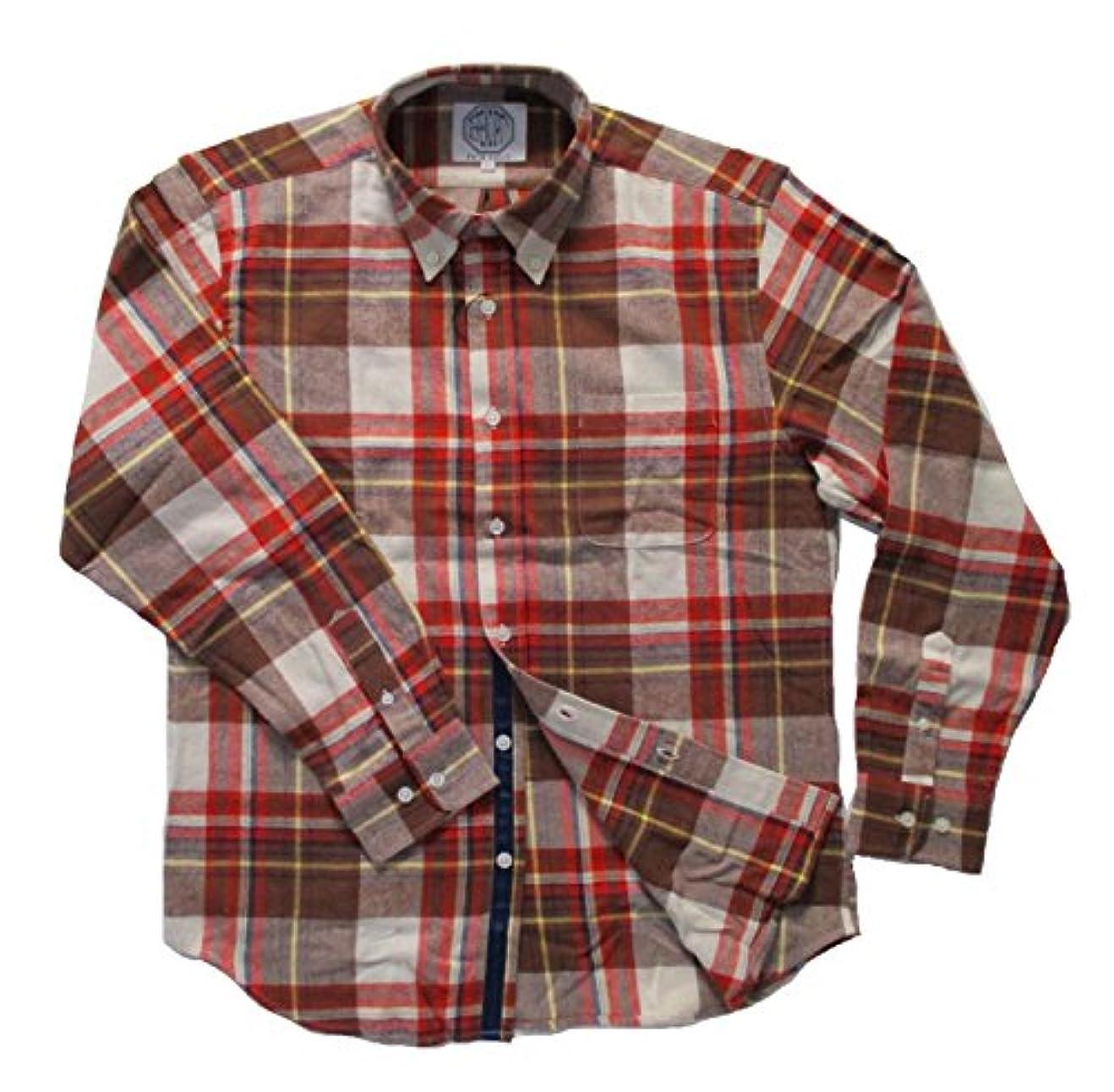 摘む解き明かすナイロン(フェアヴァリュー)FAIRVALUE  ネルシャツ 長袖 ボタンダウンシャツ 綿100% 細身 (LL, レッド系)