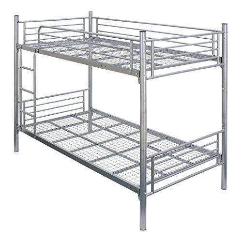 パイプ二段ベッド スチール 二段ベッド 床板補強 分割可 耐震仕様 シングル (シルバー)