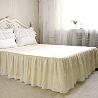 Lucky&Beauty ベッドスカート おしゃれ ベッドスプレッド フリルデザイン 四季適用 高通気性 高質感 上品なベッドカバー セミダブル