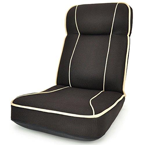 レバー式14段階リクライニング座椅子 「リシャール」 ハイバック (ヘッドリクライニング機能付) メッシュタイプ ベージュ×ブラック色