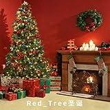 Meking Red_Tree 撮影用 クリスマス 背景布 布バック1.5×2m レッド クリスマス・ツリー