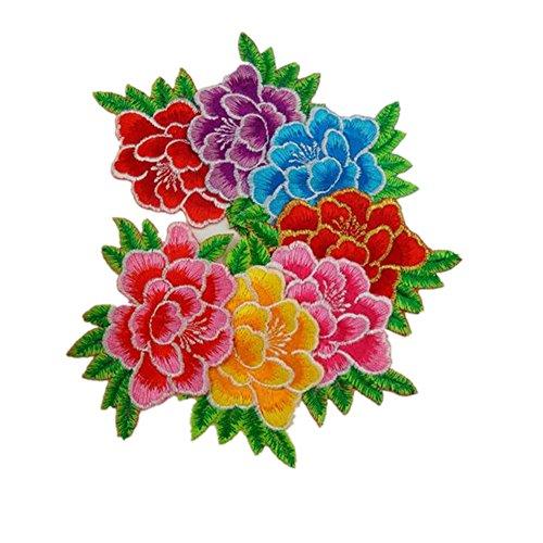 【高級感デザイン】6枚アイロンアップリケワッペン 刺繍 花 薔薇 カーネーションの花束 シャクヤクの花 ボタンの花