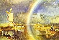 ¥5K-200k 手書き-キャンバスの油絵 - 美術大学の先生直筆 - Arundel Castle with Rainbow Turner 絵画 洋画 複製画 ウォールアートデコレーション -サイズ16
