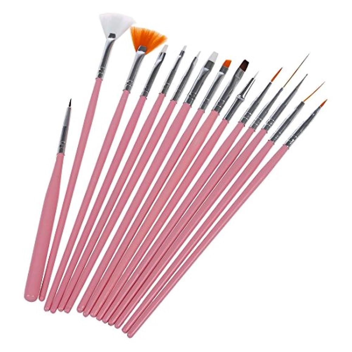 喜劇インターネット実用的Gaoominy 15Xネイルアートアクリル UVジェル 設計ブラシセット ペインティングペン チップツールキット ピンク