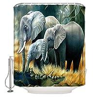 シャワーカーテン 象の家族 防水 防カビ 加工 バスルーム 風呂 浴室 カーテン 間仕切り 遮像 デコレーション リング付属 取り付け簡単 幅180x高さ180cm