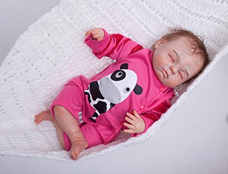 PursueベビーソフトビニールRealistic Rebornベビー人形Milk、18インチClosed Eyes Lifelikeベビー人形withおしゃぶりCollectible