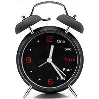 ILoFun 目覚まし時計 アナログ 大音量 置き時計 ナイトライト付 クオーツ アラームクロックブラック