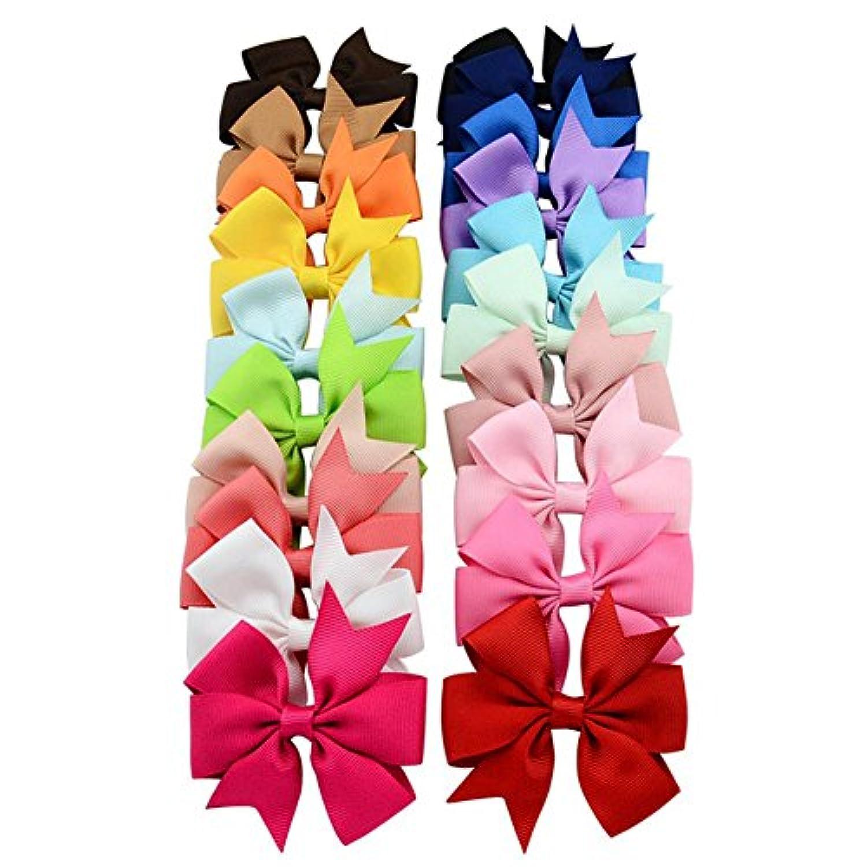 Youkara ヘアピン 子供 ヘアクリップ ベビー リボン クリップ ギフトにぴったり 理想的な子供ヘアバンド 誕生日 プレゼント 20色をミックス(C)