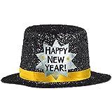 (5.1cm, Black) - Amscan Rocking New Year's Party Mini Glitter Top Hats Accessory, Black, 5.1cm