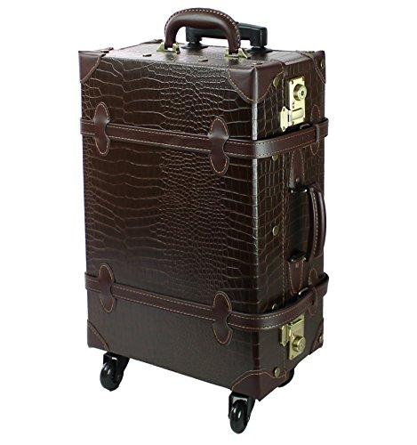 【MOIERG】キャリーバッグ コンビ TSA キャリーケース 4輪 軽量 修学旅行 (S, クロコチャ)[81-55035-49]