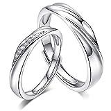 MAX World ペアリング 純銀製指輪 レディースリング メンズリング キラキラ 結婚指輪 婚約指輪 フリーサイズ