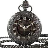 [モノジー] MONOZY 【黒の懐中時計】 アンティーク 懐中時計 【フックチェーン+ネックレスチェーン+収納ポーチ+化粧箱 5点 セット】 レトロ ブラック クローム