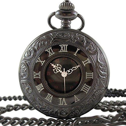 [モノジー] MONOZY 黒の 懐中時計 アンティーク 風 フックチェーン・ネックレスチェーン・収納袋・化粧箱 5点セット