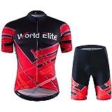 World Elite 半袖 サイクルジャージ 上下セット 自転車ウエア 半袖ウェアセット メンズ サイクリング ツーリング時期夏用 速乾吸汗 通気がいい