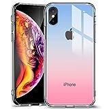 ESR iPhoneXs/Xケース ガラス背面 TPUバンパー 5.8インチ ネイキッド(レッドブルー)
