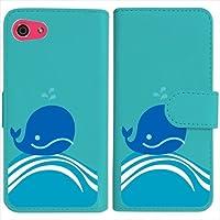 sslink SHV41/SH-M06/AQUOS R compact 手帳型 ブルー ケース くじら クジラ マリン ダイアリータイプ 横開き カード収納 フリップ カバー