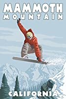 Mammoth Mountain、カリフォルニア–Snowboarder Jumping 16 x 24 Signed Art Print LANT-57462-709