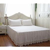 ベッドスカート 優雅なレース模様ホワイトコットンベッドスカート (シングル)